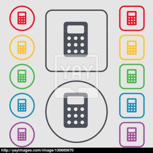Calculator, Bookkeeping Icon Sign Symbol On The Round And Square