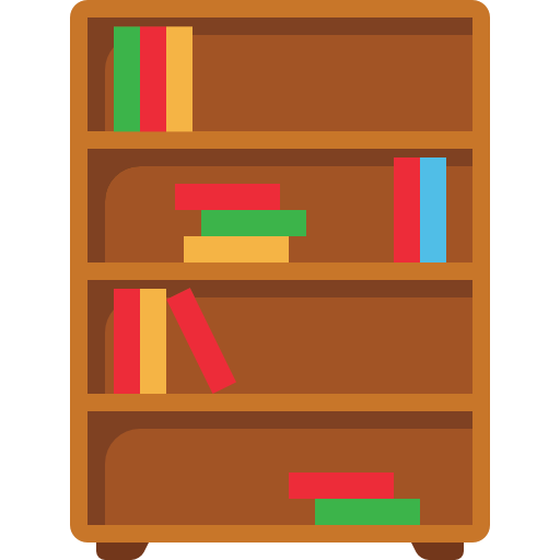 Bookshelf, Library, Book, Storage, Bookcase, Furniture Icon