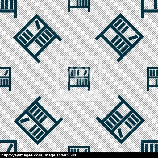 Bookshelf Icon Sign Seamless Pattern With Geometric Texture
