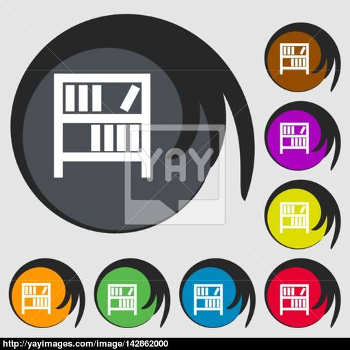 Bookshelf Icon Sign Symbols On Eight Colored Buttons Vector