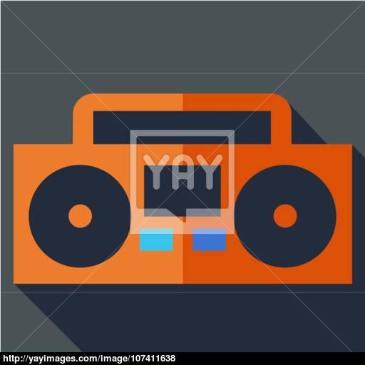 Modern Flat Design Concept Icon Boom Box, Tape Recorder Vector