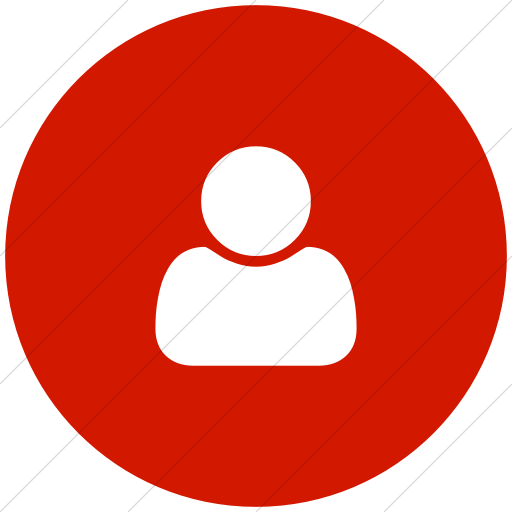 Flat Circle White On Red Bootstrap Font Awesome User Icon
