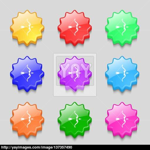 Bow And Arrow Icon Sign Symbol On Nine Wavy Colourful Buttons