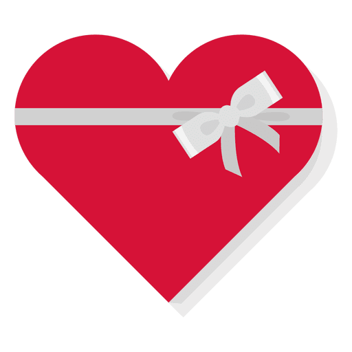 Red Heart Gift Box Silver Bow Icon