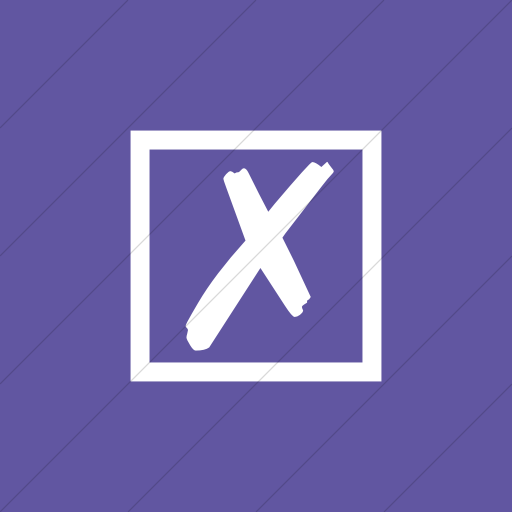 Flat Square White On Purple Classica Ballot Box With X Icon