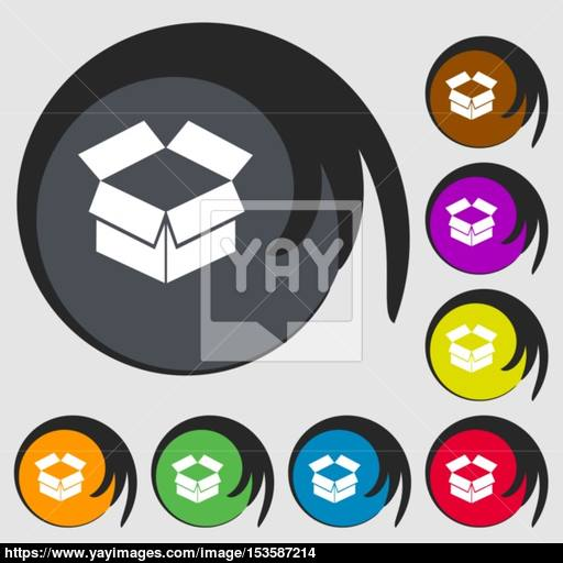 Open Box Icon Symbols On Eight Colored Buttons Vector Vector