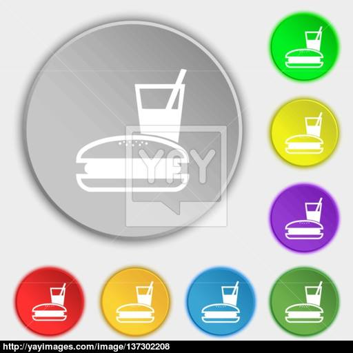 Lunch Box Icon Sign Symbol On Five Flat Buttons Vector Vector