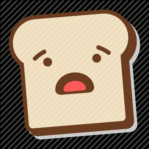 Bread, Breakfast, Emoji, Shocked, Slice, Surprised, Toast Icon