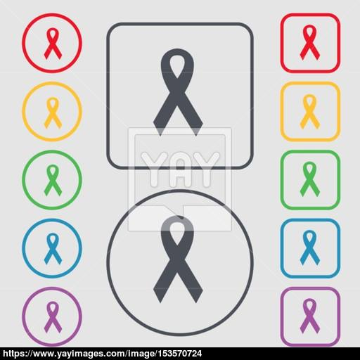 Ribbon, Breast Cancer Awareness Month Icon Sign Symbol