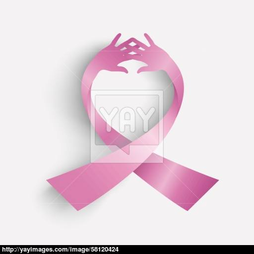 Cancer Awareness Ribbon Icon Human Hands Composition