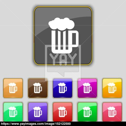 Glass Of Beer With Foam Icon Sign Set With Eleven Colored Buttons