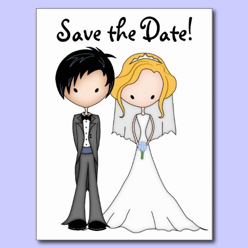 Humorous Bride And Groom Cartoon Save The Date Announcement