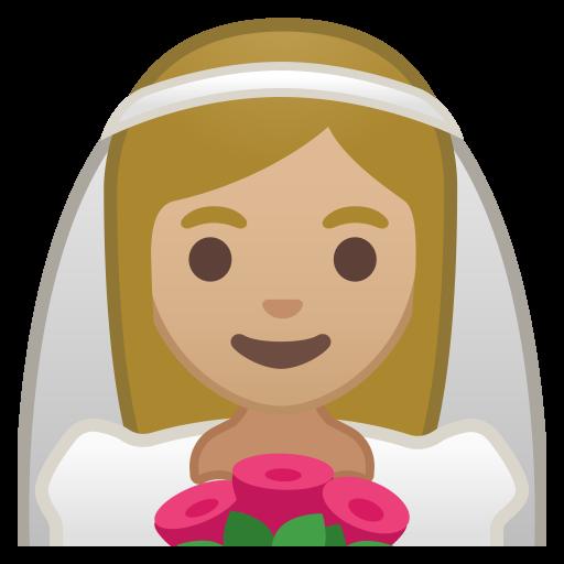 Bride With Veil Medium Light Skin Tone Icon Noto Emoji People