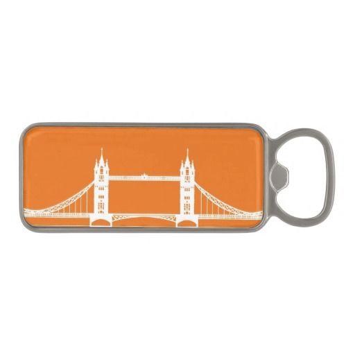 White And Orange London Bridge Silhouette Magnetic Bottle Opener