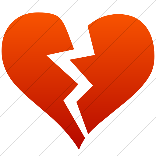 Simple Red Gradient Classica Broken Heart Icon