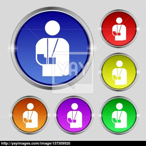 Broken Arm, Disability Icon Sign Round Symbol On Bright Colourful