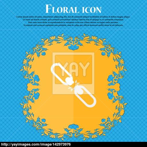 Broken Connection Flat Single Icon Floral Flat Design On A Blue