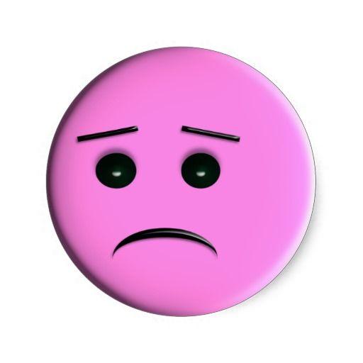 Sad Pink Face Classic Round Sticker