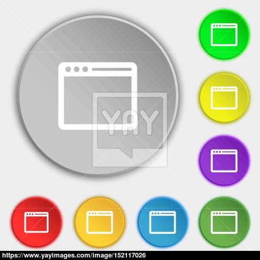 Simple Browser Window Icon Sign Symbol On Eight Flat Buttons