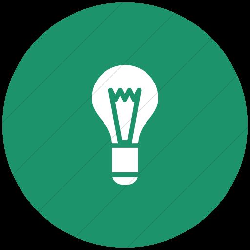 Flat Circle White On Aqua Raphael Light Bulb Icon