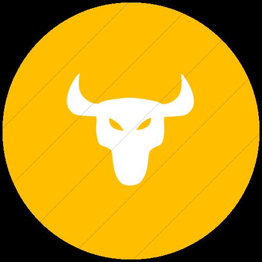 Flat Circle White On Yellow Animals Bull Icon