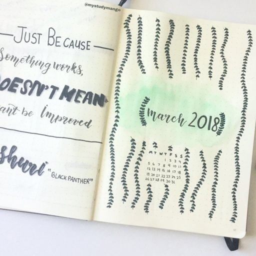 March Bullet Journal Set Up Studying Amino Amino