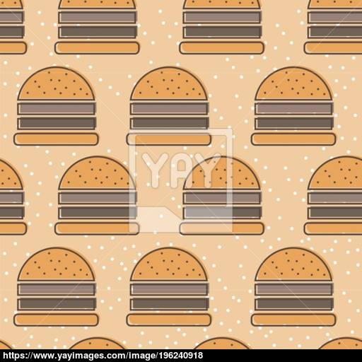 Burger Line Icon Seamless Vector Pattern Fast Food Outline