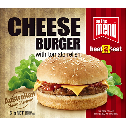 On The Menu Cheese Burger With Tomato Relish