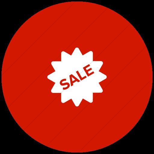 Flat Circle White On Red Foundation Burst Sale Icon