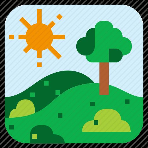 Bush, Landscape, Meadow, Tree Icon