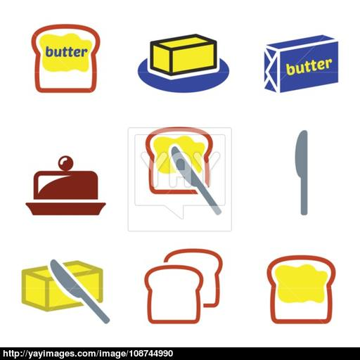 Butter Or Margarine Vector Icons Set Vector
