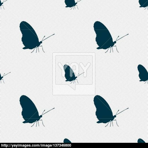 Butterfly Icon Sign Seamless Pattern With Geometric Texture
