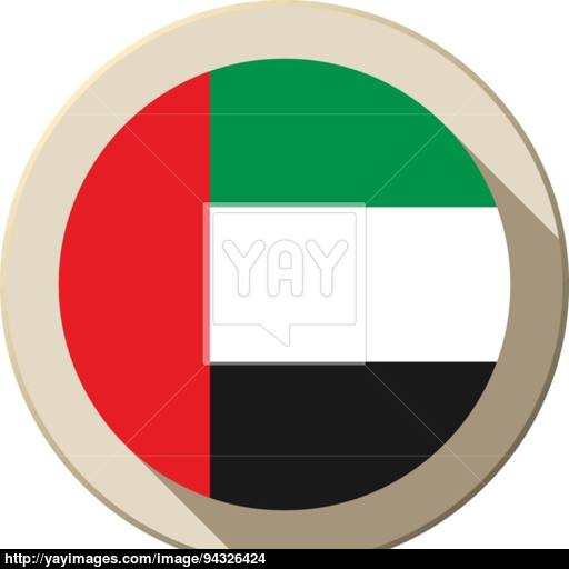 United Arab Emirates Flag Button Icon Modern Vector