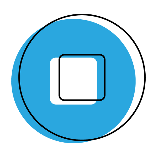 Stop Button Blue Icon