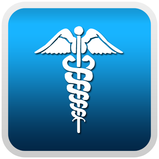 Caduceus Medical Symbol On White Blue Button Clipart Image