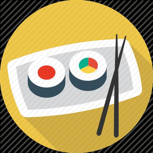 Chopsticks, Fish, Food, Sea, Seafood, Sushi Icon