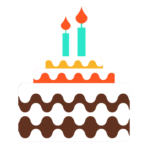 Two Candles Birthday Cake Icon