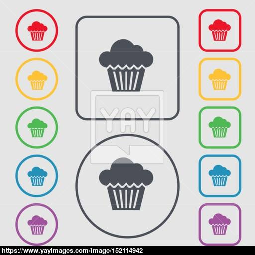 Cake Icon Sign Symbol On The Round And Square Buttons With Frame