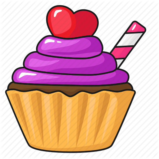 Cake, Cup Cake, Day, Line, Set, Template, Valentine's Icon