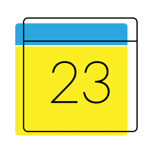 Calendar Date Icon Yellow And Blue
