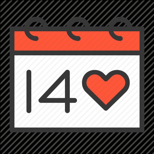 Calendar, Valentine, Valentine Day Icon