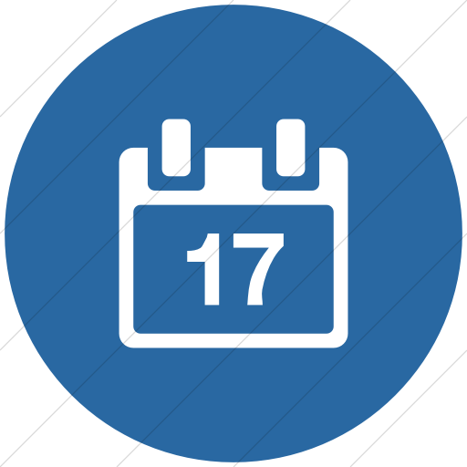 Flat Circle White On Blue Broccolidry Calendar Icon