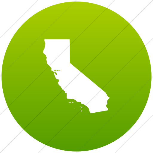 Flat Circle White On Green Gradient Us States