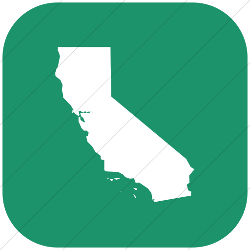 Flat Rounded Square White On Aqua Us States California Icon