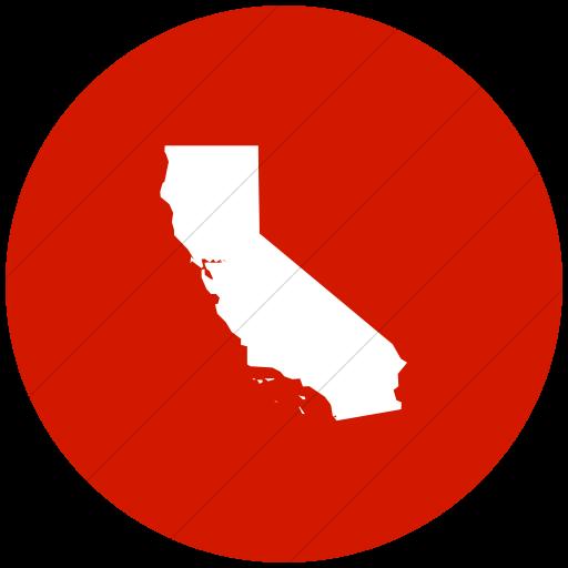Flat Circle White On Red Us States California Icon