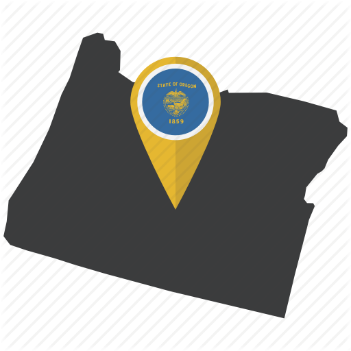 American, Flag, Map, Navigation, Oregon, Pin, State Icon