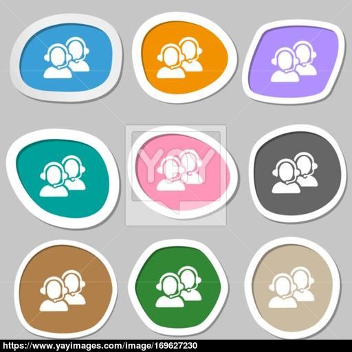 Call Center Icon Symbols Multicolored Paper Stickers Vector