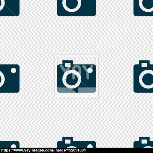 Camera Icon Sign Seamless Pattern With Geometric Texture Vector