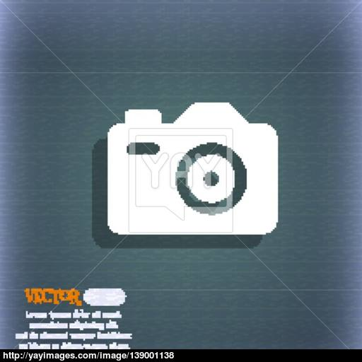 Photo Camera Icon Symbol On The Blue Green Abstract Background