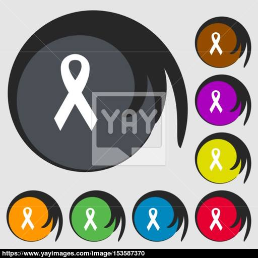 Ribbon, Breast Cancer Awareness Month Icon Symbols On Eight